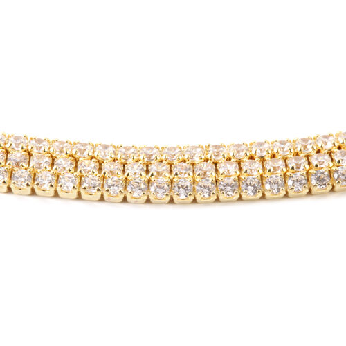 AAA Simulated Diamond (Rnd) Triple Strand Adjustable Bracelet (Size 6.5 to 8.5) in Gold Bond