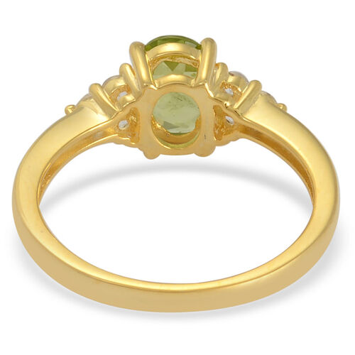 Hebei Peridot (Ovl 1.25 Ct), White Topaz Ring in Yellow Gold Overlay Sterling Silver 1.500 Ct.
