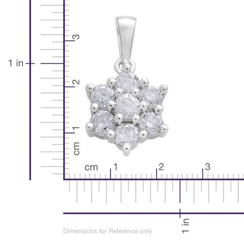 9K White Gold 1 Carat Diamond 7 Stone Floral Pendant, SGL Certified I3 G-H