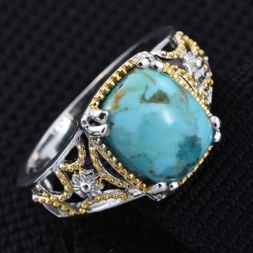 Arizona Matrix Turquoise (Cush) Solitaire Ring in Platinum and Yellow Gold Overlay Sterling Silver 3.250 Ct.