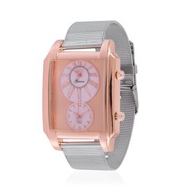 GENOA Japanese Movement Rose Dial Water Resistant Watch in Rose Gold Tone with Stainless Steel Back and Chain Strap