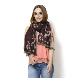 Rose Colour Bird and Branches Embroidered Burgundy Colour Scarf (Size 180x70 Cm)