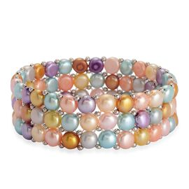 High Quality Fresh Water Multi Colour Pearl Bracelet (Size 7.5) in Silver Tone 100.00 Ct.