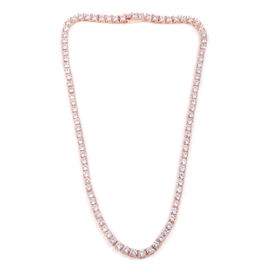 Close Out Deal Simulated Diamond (Rnd) Necklace (Size 17) in Rose Gold Bond