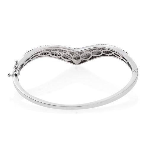 Brand New Black Diamond (Rnd), White Diamond Wishbone Bangle (Size 7.5) in Platinum Overlay Sterling Silver 2.750 Ct.