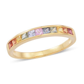 Rainbow Sapphire (Sqr) Half Eternity Band Ring in Yellow Gold Overlay Sterling Silver 1.250 Ct.