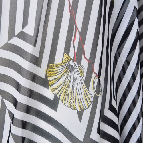 Black, White and Yellow Colour Seashell and Stripes Pattern Poncho (Free Size)