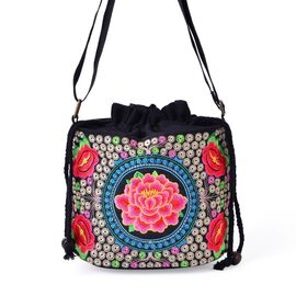 Shanghai Collection - Rich Pink Peony Embroidered Crossbody Bag (Size 19.5x16.5x13 Cm)