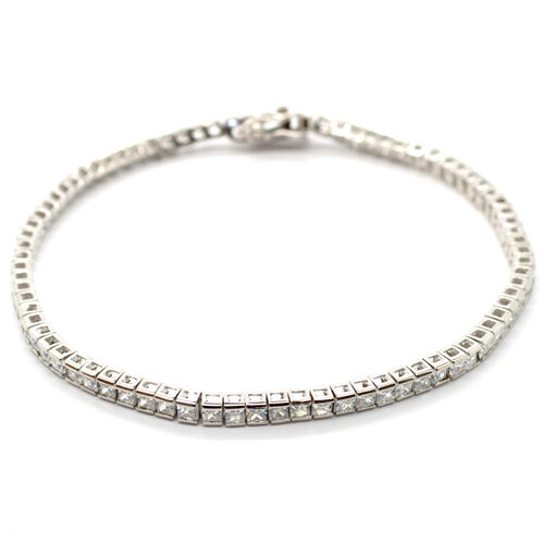 Mega Deal ELANZA Simulated White Diamond (AAA) (Sqr) Bracelet in Sterling Silver (Size 7.25)