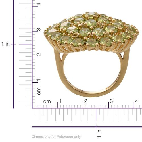 Hebei Peridot (Rnd) Cluster Ring in 14K Gold Overlay Sterling Silver 10.250 Ct.
