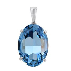 J Francis Crystal from Swarovski - Aquamarine Colour Crystal Pendant in Platinum Overlay Sterling Silver