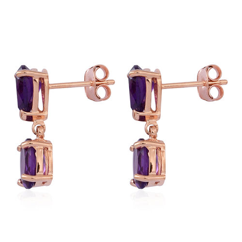 Amethyst (Ovl) Earrings (with Push Back) in 14K Rose Gold Overlay Sterling Silver 4.000 Ct.