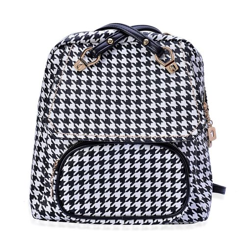 Houndstooth Pattern Black and White Colour Multi Function Back Pack with External Zipper Pocket and Adjustable and Removable Shoulder Strap (Size 32x27x10 Cm)