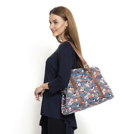 100 % Cotton Multi Colour Birds and Floral Pattern Tote Bag With Sequins and Shoulder Strap (Size 45x30x20 Cm)