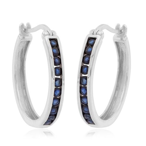 AAA Kanchanaburi Blue Sapphire (Rnd) Hoop Earrings (with Clasp) in Rhodium Plated Sterling Silver 1.000 Ct.