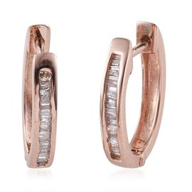 Diamond (Bgt) Hoop Earrings (with Clasp) in Rose Gold Overlay Sterling Silver 0.250 Ct.