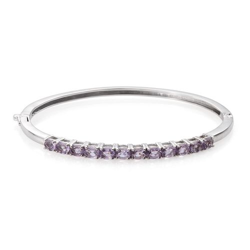 Rose De France Amethyst (Ovl) Bangle (Size 7.5) in ION Plated Platinum Bond 3.750 Ct.