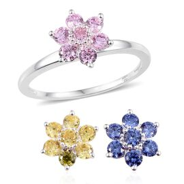 ELANZA AAA Simulated Pink Sapphire (Rnd), Simulated Tanzanite and Simulated Citrine Floral Interchangeable Ring in Sterling Silver