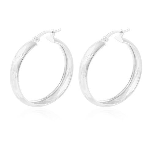 Sterling Silver Diamond Cut Hoop Earrings (with Clasp), Silver wt 3.90 Gms.