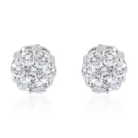 RHAPSODY 950 Platinum IGI Certified Diamond (Rnd) (VS/E-F) Floral Stud Earrings (with Screw Back) 0.500 Ct.