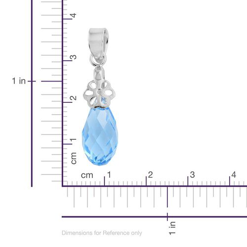 J Francis Crystal from Swarovski - Aquamarine Colour Crystal Drop Pendant in Platinum Overlay Sterling Silver