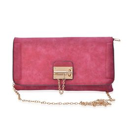 Pink Colour Crossbody Bag with Chain Strap (Size 29x16 Cm)
