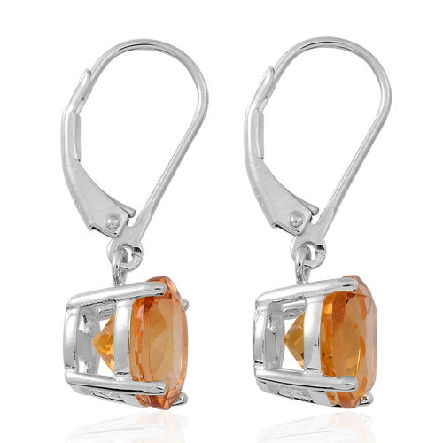 Citrine (Rnd) Lever Back Earrings in Rhodium Plated Sterling Silver 5.000 Ct.