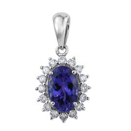 RHAPSODY 950 Platinum AAAA Tanzanite Oval, Diamond VS E-F Pendant 2.000 Ct.