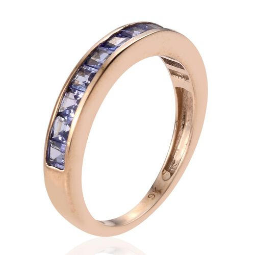 9K Y Gold Tanzanite (Sqr) Half Eternity Band Ring 1.000 Ct.