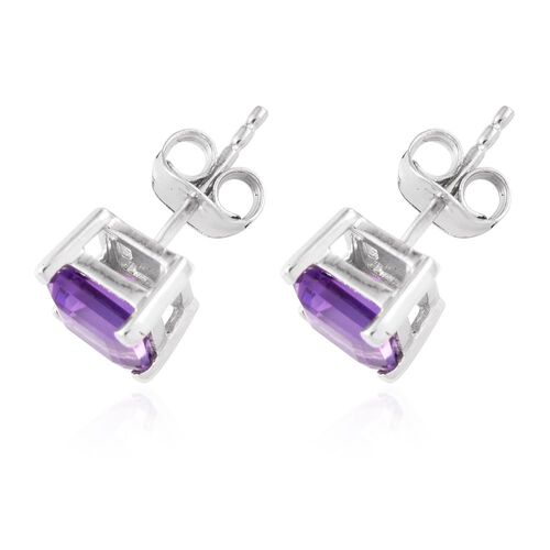 Octagon Amethyst 1.05 Ct Silver Stud Earrings in Platinum Overlay