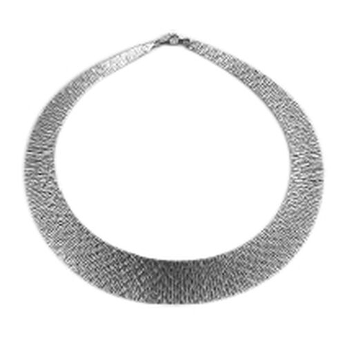 (Option 2) Vicenza Collection Rhodium Plated Sterling Silver Cleopatra Necklace (Size 17), Silver wt 41.59 Gms.