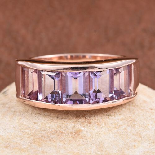 Rose De France Amethyst (Bgt) 5 Stone Band Ring in Rose Gold Overlay Sterling Silver 4.500 Ct.