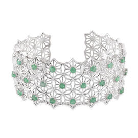 Kagem Zambian Emerald (Rnd) Cuff Bangle (Size 7.5) in Platinum Overlay Sterling Silver 5.250 Ct.