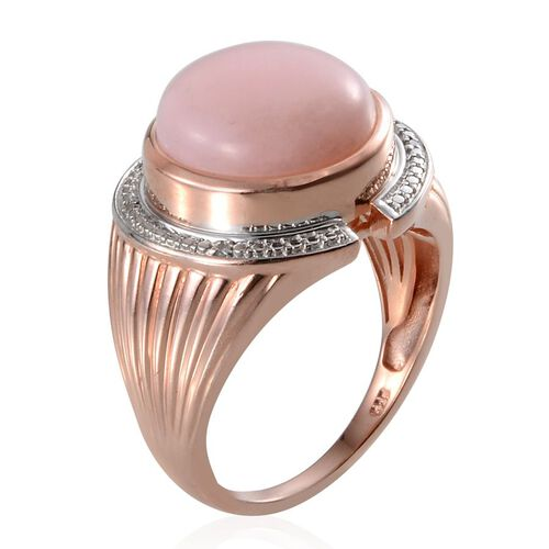 Peruvian Pink Opal (Rnd 7.00 Ct), Diamond Ring in Rose Gold Overlay Sterling Silver 7.020 Ct.