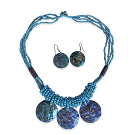 Royal Bali Collection Seed Beaded Abalone Necklace (Size 20) and Hook Earrings