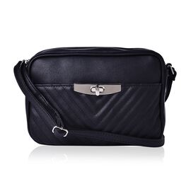 Black Colour Crossbody Bag with Adjustable Shoulder Strap (Size 23.5x15.5x7 Cm)