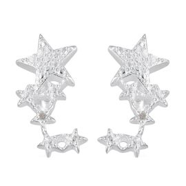 Diamond (Rnd) Star Earrings (with Push Back) in Sterling Silver