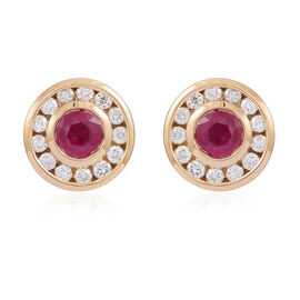 Signature Collection ILIANA 18K Y Gold AAA Burmese Ruby (Rnd), Diamond (SI/G-H) Stud Earrings (Screw Back) 1.500 Ct.