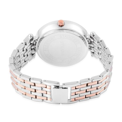 STRADA Japanese Movement White Austrian Crystal Studded Watch in Rose Gold and Silver Tone with Stainless Steel Back