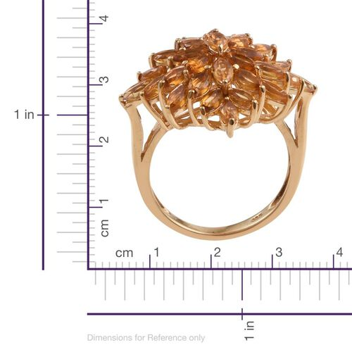 Citrine (Mrq) Cluster Ring in 14K Gold Overlay Sterling Silver 5.000 Ct.