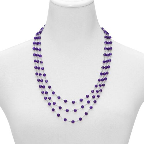 Purple Quartzite 3 Strand Necklace (Size 24) in Silver Tone 58.000 Ct.