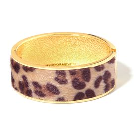 Leopard Pattern Bangle (Size 7) in Yellow Gold Tone