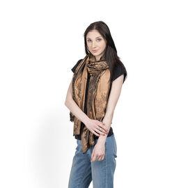 100% Superfine Silk Bronze and Brown Colour Jacquard Jamawar shawl (Size 180x70 Cm) (Weight 125-140 Grams)