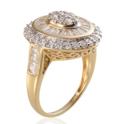 J Francis - 14K Gold Overlay Sterling Silver (Rnd) Ring Made With SWAROVSKI ZIRCONIA 2.660 Ct.