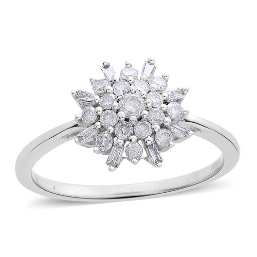 9K White Gold 0.50 Carat Diamond Snowflake Ring SGL Certified I3 G-H.