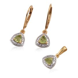 Hebei Peridot (Trl), Diamond Pendant and Lever Back Earrings in 14K Gold Overlay Sterling Silver 0.750 Ct.