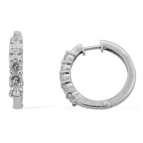 Golconda Diamond Topaz (Rnd) Hoop Earrings in Platinum Overlay Sterling Silver 2.75 Ct.