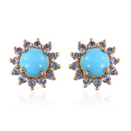Arizona Sleeping Beauty Turquoise (Rnd), Royal Ceylon Sapphire Stud Earrings (with Push Back) in 14K Gold Overlay Sterling Silver 3.250 Ct.