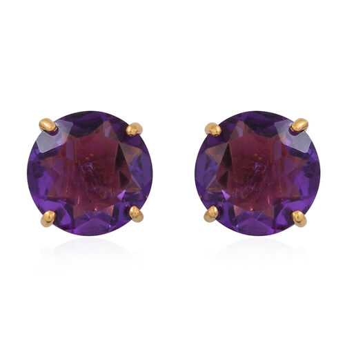 Lusaka Amethyst (Rnd) Stud Earrings (with Push Back) in 14K Gold Overlay Sterling Silver 5.000 Ct.