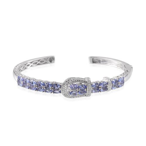 Tanzanite (Ovl), Diamond Buckle Bangle (Size 7.5) in Platinum Overlay Sterling Silver 6.020 Ct.